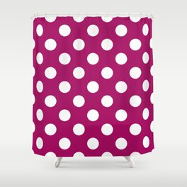 Jazzberry jam - violet - White Polka Dots - Pois Pattern Shower Curtain