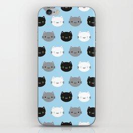 Cute Cats & Kawaii Kittens (Blue) iPhone Skin
