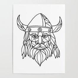 Norseman Black and White Mosaic Poster