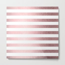 Simply Striped Rose Quartz Elegance Metal Print