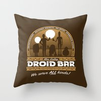bar Throw Pillows featuring Droid Bar by Doodle Dojo