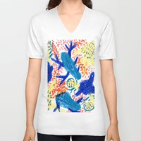 jungle V-neck T-shirts featuring Jungle by Booze Potato