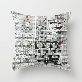 Pretty Morning Rainbow & Butterfly Pep Rally (P/D3 Glitch Collage Studies) Throw Pillow