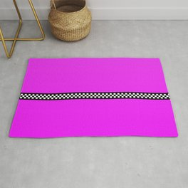 Hot Pink Taxi with Black and White Checkerboard Band Rug