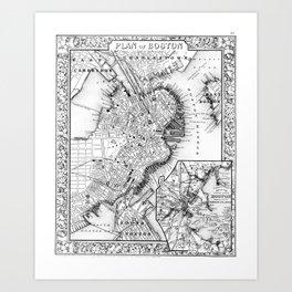 Vintage Map of Downtown Boston (1864) BW Art Print