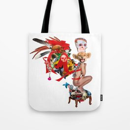Skull Queen Ribbon Lion Witch Doctor Tote Bag