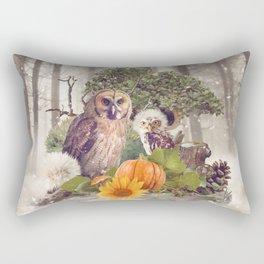 Floral Forest Owls Rectangular Pillow