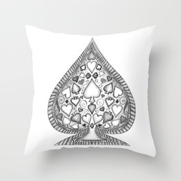 Ace of Spades Black and White Throw Pillow