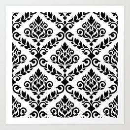 Prima Damask Pattern Black on White Art Print