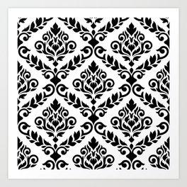 Prima Damask Pattern Black on White Art Print