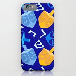 Hanukkah Dreidel Pattern In Holiday Blue And Gold iPhone Case