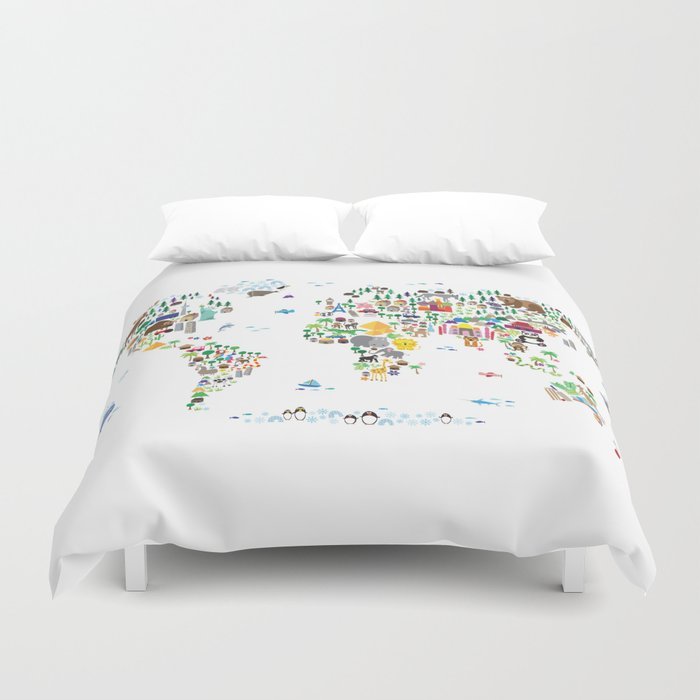 Animal Map of the World for children and kids Duvet Cover by artpause
