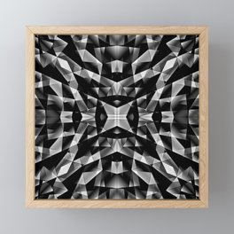 Exclusive mosaic pattern of chaotic black and white fragments of glass, metal and ice floes. Framed Mini Art Print