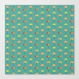 April Showers - Spring Rain Umbrella Pattern in Teal Canvas Print