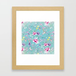 Pastel Teal Vintage Roses and Butterflies Pattern Framed Art Print