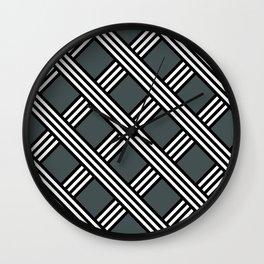 PPG Night Watch, Black & White Diagonal Stripes Lattice Pattern Wall Clock