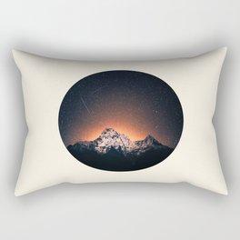 Glowing Star Sky Behind Snow Mountain Round Photo Vintage Rectangular Pillow