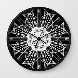 Black and White Mandala Flower Wall Clock