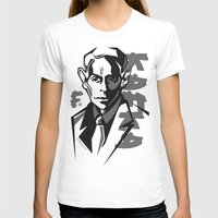kafka T-shirts featuring Kafka portrait in Black & Dark Greys by aygeartist