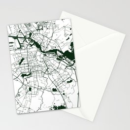 Amsterdam White on Green Street Map Stationery Cards