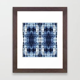 Blue Shibori Plaid Framed Art Print