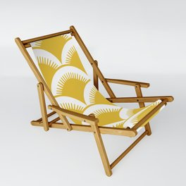 Japanese Fan Pattern Mustard Yellow Sling Chair