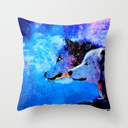 WOLF:  NIGHT COMPANION Throw Pillow