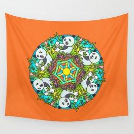 Mandala Panda Orange Background Wall Tapestry