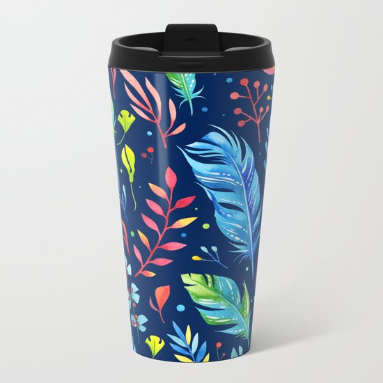 Feathers Pattern 02 Metal Travel Mug