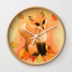 Fall Fox Wall Clock
