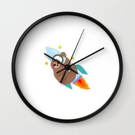 Space Bound Sloth Wall Clock