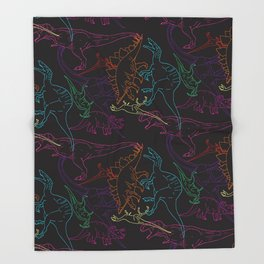 Psychedelic Dino Throw Blanket