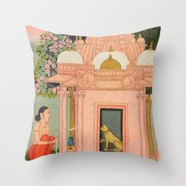Bangali Ragini - 17th Century Classical Indian Art Throw Pillow