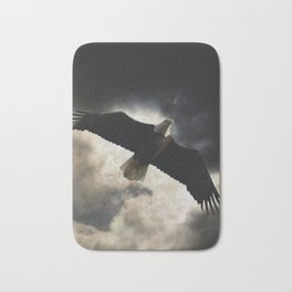 Soaring Eagle in Stormy Skies Bath Mat