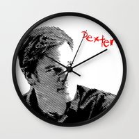 dexter Wall Clocks featuring Dexter by Crazy Thoom