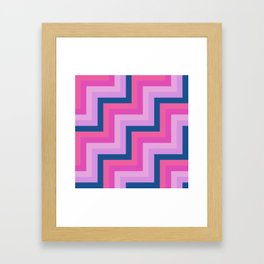 Blue, Shades of Pink and Purple Chevron Stripes Framed Art Print