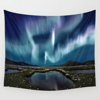 northern lights Wall Tapestries featuring Northern Lights by FantasyArtDesigns