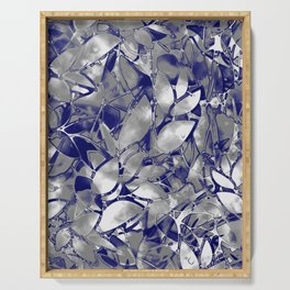 Grunge Art Silver Floral Abstract G169 Serving Tray