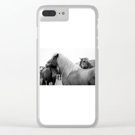 Cuddling Horses in Iceland Clear iPhone Case