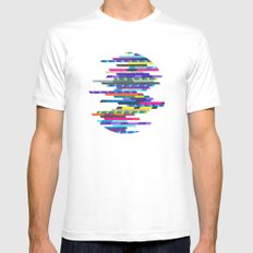 Crazy Lines D Circle White MEDIUM Mens Fitted Tee