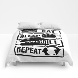 Eat Sleep Grill Repeat - BBQ Barbecue Griller Comforters