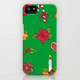 Christmas pattern (#2 green) iPhone Case