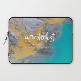 Wanderlust Definition - Topographical Map Laptop Sleeve