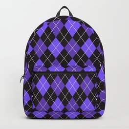 Dashed diamond check purple & black for Halloween Backpack