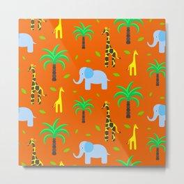 Jiraffe and elephant african pattern Metal Print