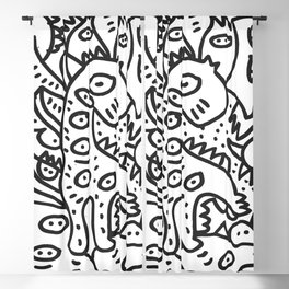 Cool Graffiti Art Dinosaur Black and White  Blackout Curtain