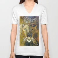 courage V-neck T-shirts featuring Courage by Anna Hanse