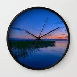 Night blue sky over the lake Wall Clock