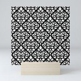 Scroll Damask Pattern White on Black Mini Art Print