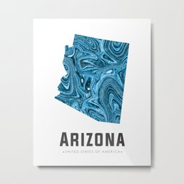 Arizona - State Map Art - Abstract Map - Blue Metal Print